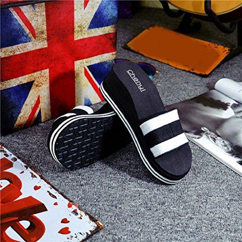 Ularma Casa de verano y playa zapatos sandalias zapatillas de las mujeres negro
