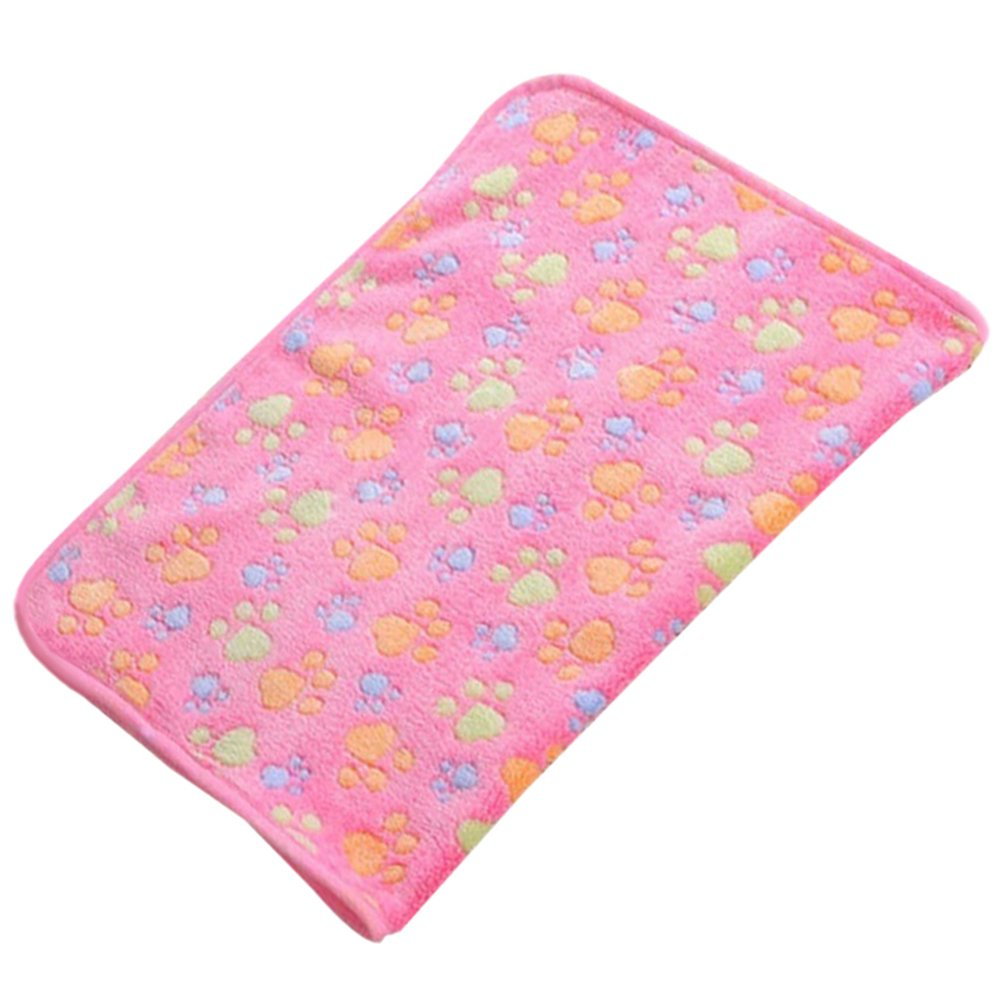 Cute Pet Dog Blanket Warm Paw Print Dog Puppy Fleece Soft Bed Mat Cover Throws Cushion Mat Sleep Pad size M (Pink)
