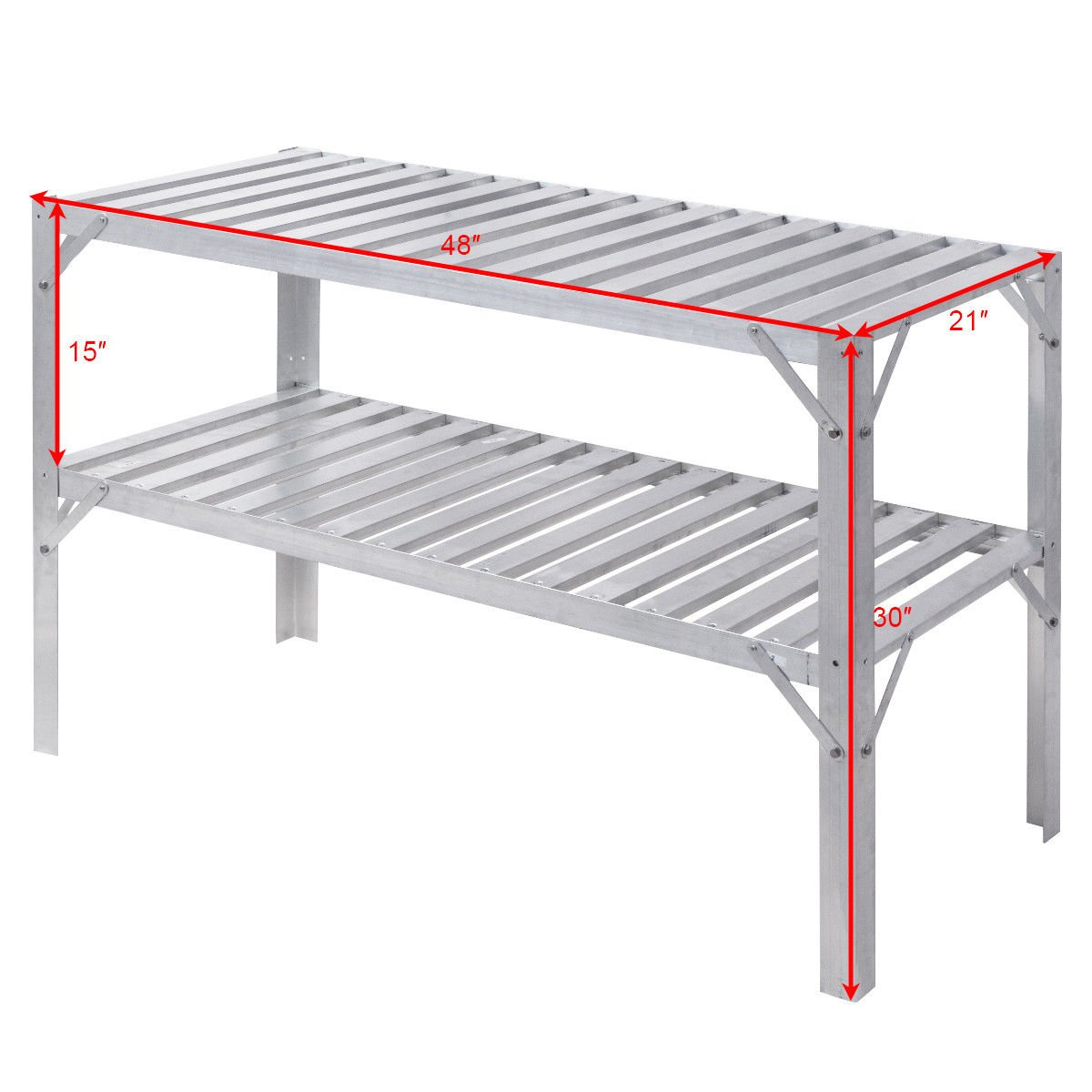 Giantex Aluminum Workbench Oranizer Greenhouse Prepare Work Potting Table Storage Garage Shelves, Silver by Giantex (Image #5)