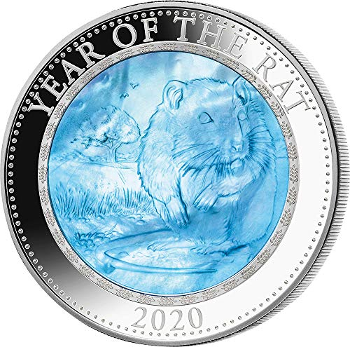 2020 CK Lunar Mother Pearl PowerCoin RAT Mother of Pearl Lunar Year Series 5 Oz Silver Coin 25$ Cook Islands 2020 ()