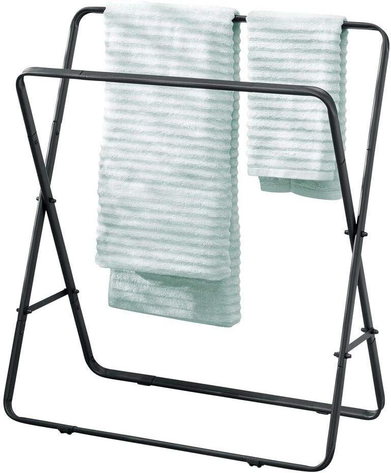 Moderno portatoallas de Metal Negro Mate Toallero de pie con Dos Barras para Toallas mDesign Soporte para Toallas
