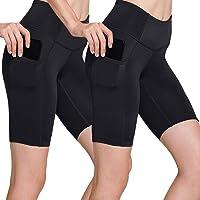 TSLA Women's High Waisted Bike Shorts, Workout Running Yoga Shorts with Pocket(Side/Hidden), Athletic Stretch Exercise…