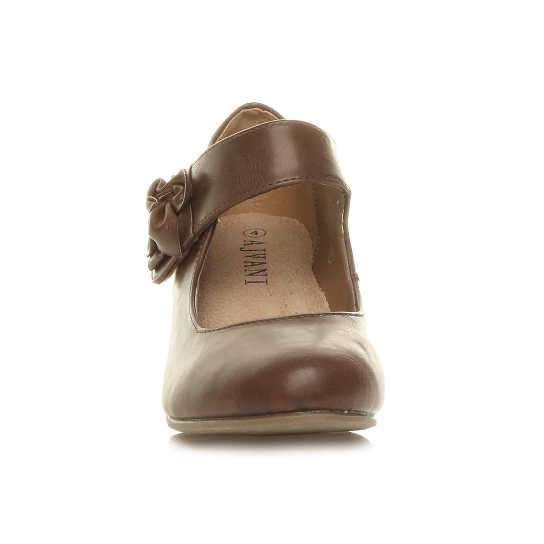 Femmes Talon Moyen Large Babies Cuir doubl/é Confort Escarpin Chaussure Pointure