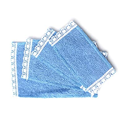 Melody Jane Dollhouse 4 Blue Lace Edged Towels Miniature Bathroom Accessory: Toys & Games