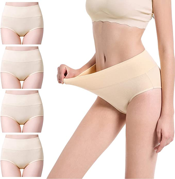 cassney Womens Underwear High Waist C Section Panties Womens Cotton High Waist Full Coverage Brief Panty (Beige-4 Pack, Small)