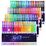 Glitter Gel Pens Set 80 Colors Gel Markers Pen for Adult Coloring Book Doodling Crafting Scrapbooking DIY Greeting Cards Drawing Painting Art Project