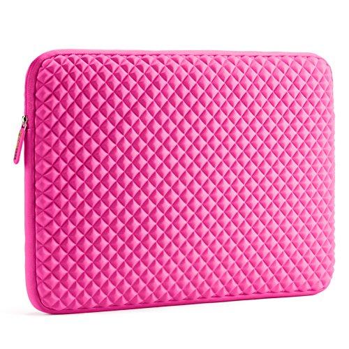 Laptophülle | Evecase Universal Neopren Anti-Schock Laptop Schutzhülle mit Rautenmuster / Diamant-Muster Schaumpolsterung für bis 17.3 Zoll Laptops Macbooks Notebooks Chromebook - Hot Pink