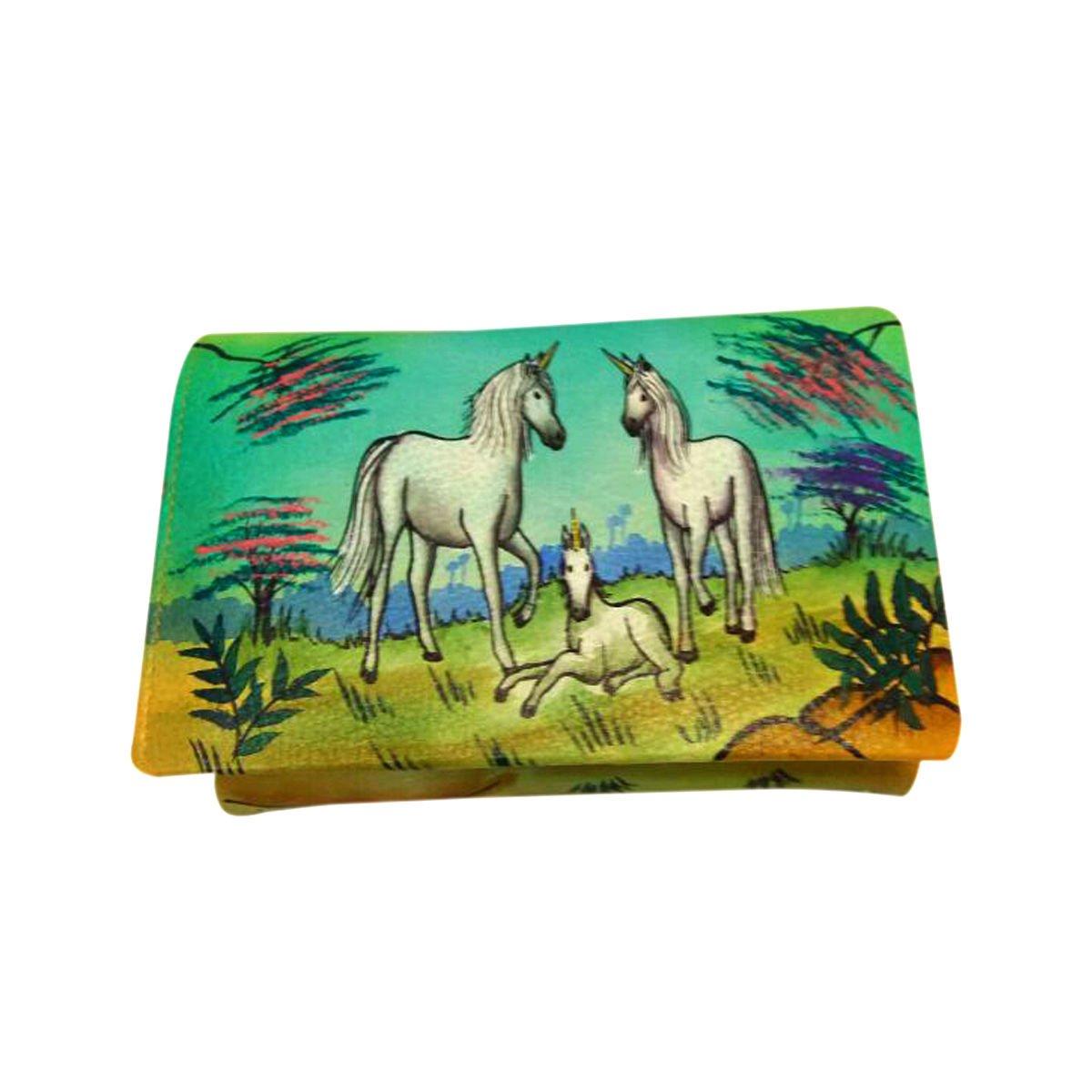 Genuine leather money card organizer Large Womens Luxury Coin Purse Hand Painted (Summer Dream Unicorns)