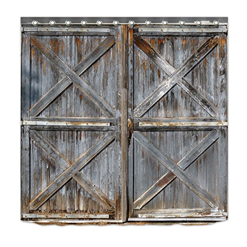 LB Western Country Style Shower Curtain Farmhouse Style Rustic Wood Print Barn Door Shower Curtain Waterproof Polyester Fabric 72 x 72 Inch with Hooks - Farm Shower Curtain Hooks
