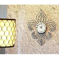 Atlantic Collectibles Oversized Fleur De Lis Contemporary Style Wall Clock 27Tall Decor Royal Crystals Modern Design