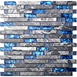 Home Building Glass Tile Kitchen Backsplash Idea Bath Shower Wall Decor Blue Gray Wave Marble Interlocking Pattern Art Mosaics TSTMGT002 (1 Sample (3'' x 6''))