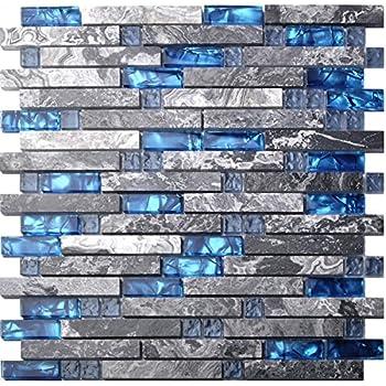Home Building Glass Tile Kitchen Backsplash Idea Bath Shower Wall Decor Blue  Gray Wave Marble Interlocking. 12  x 12  Iridescent Glass Mosaic in Blue Iridescent   Glass Tiles