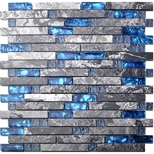 Bathroom Wall Tiles (Home Building Glass Tile Kitchen Backsplash Idea Bath Shower Wall Decor Blue Gray Wave Marble Interlocking Pattern Art Mosaics TSTMGT002 (5 PCS [12'' X 12''/each]))