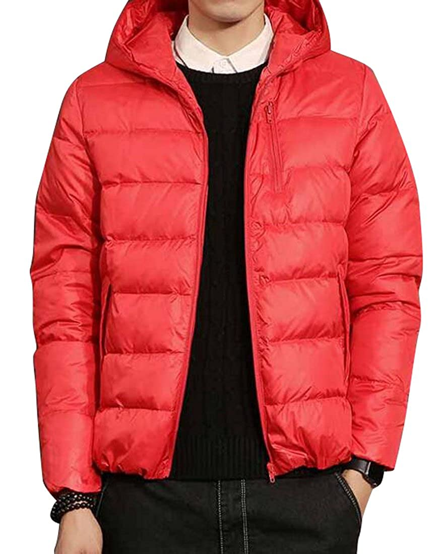 YYG Mens Winter Trench Jacket Lightweight Hooded Down Quilted Coat Outwear