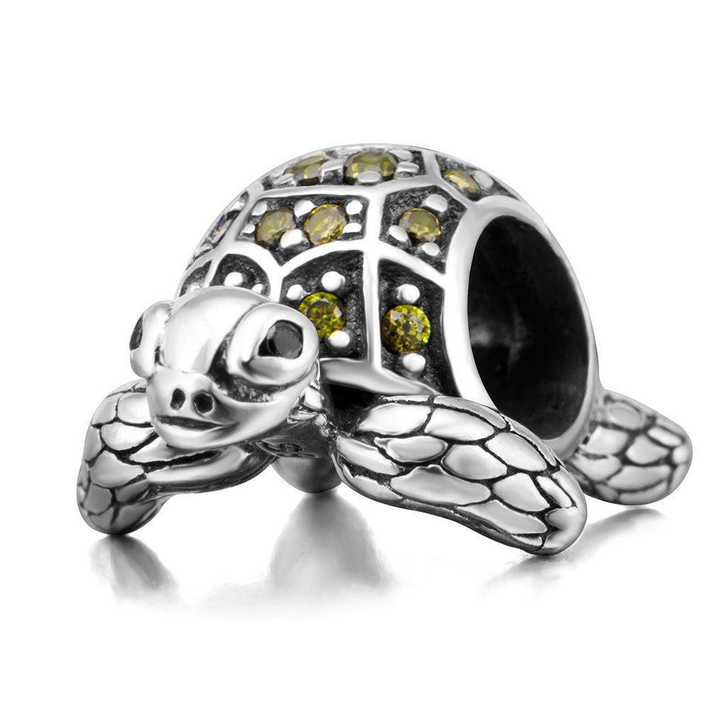 Sea Turtle Charm 925 Sterling Silver Beads fit for DIY Charm Bracelet & Necklace (Sshining olive green)