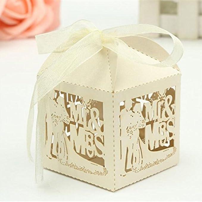 PIXNOR 50pcs láser papel cortado, de golosinas de perla Wedding Party Favor cinta cajas de joy Division (épouser el hombre): Amazon.es: Electrónica