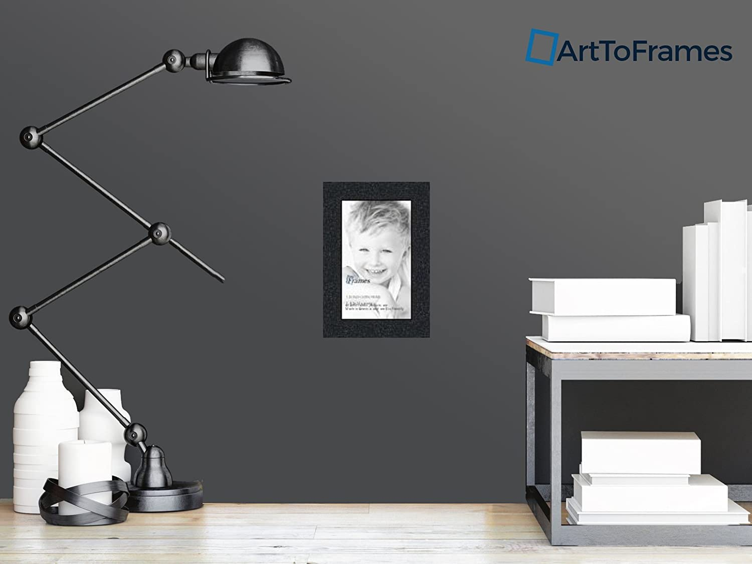 ArtToFrames 8.5x14 inch Satin Black Picture Frame, WOMFRBW26079-8.5 ...