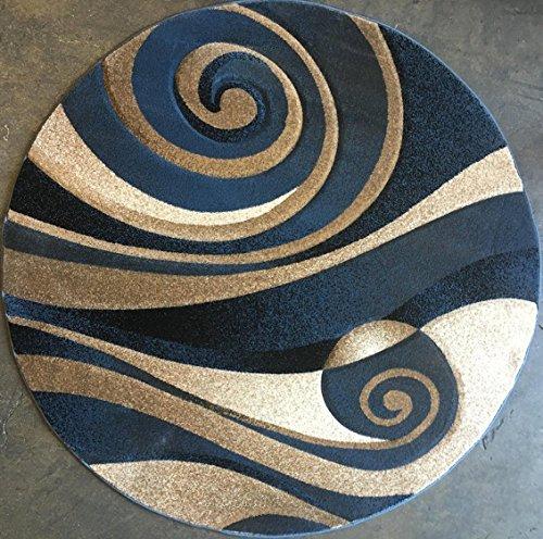 - Sculpture Modern Round Abstract Area Rug Blue Design 258 (4 Feet X 4 Feet Round)