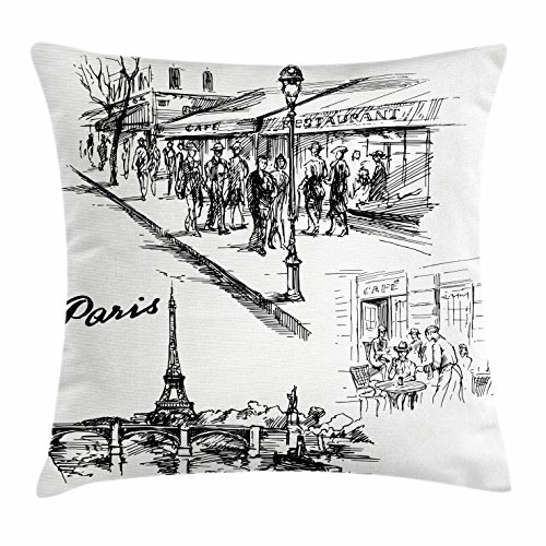 Eiffel Tower Decor Duvet Cover Set by Ambesonne, Paris Sketch Style Cafe Restaurant Landmark Canal Boat Streetlamp Retro Art Print, 3 Piece Bedding Set with Pillow Shams, Queen / Full, - Canal Stores Street