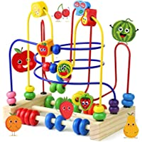 Fajiabao Wooden Bead Maze Activity Cube Fruits Slide Counting Math Abacus Montessori Sensory Toys for Toddlers Roller…