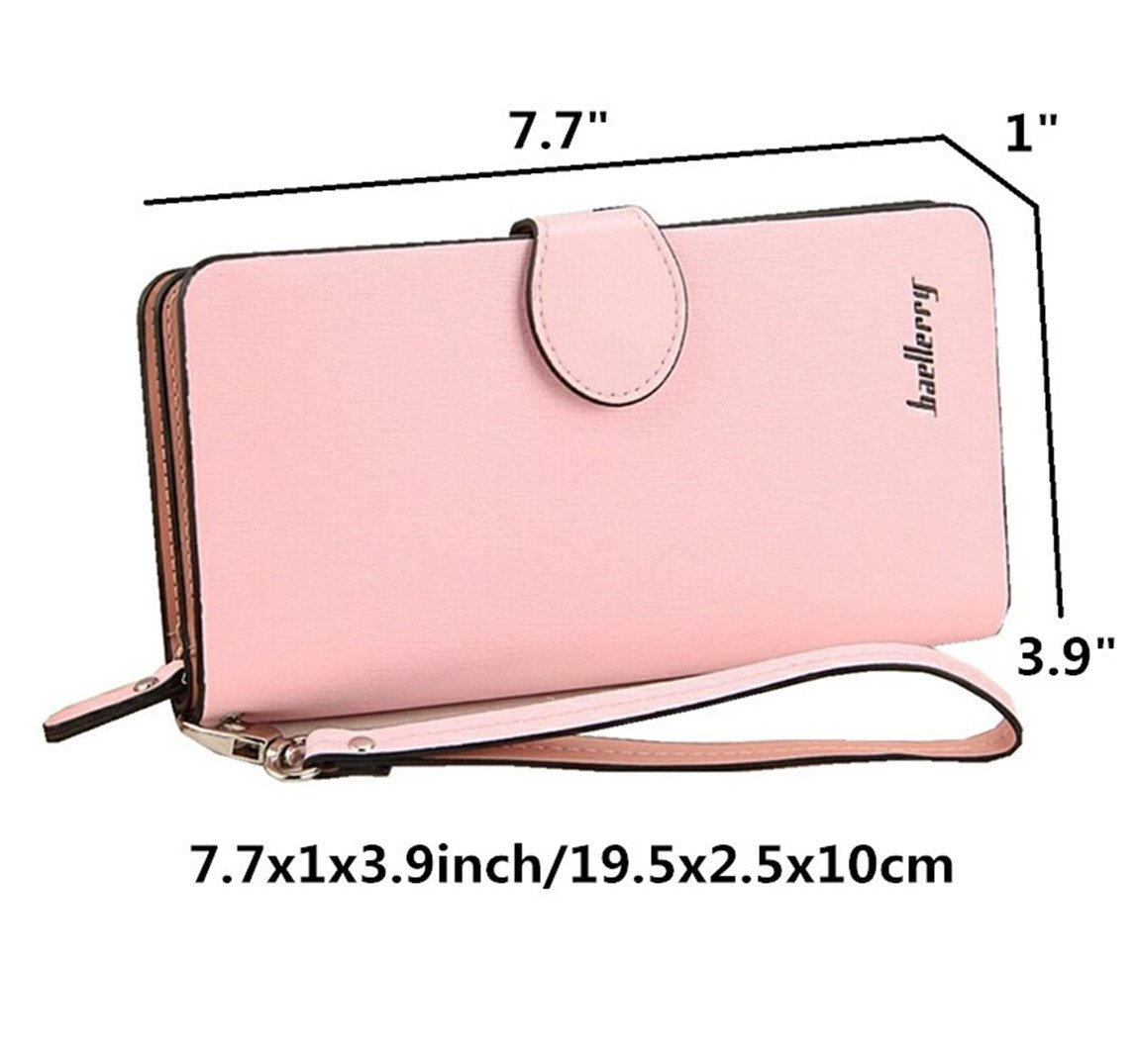 Leather Long Wallet, Zipper Wallet Multi Card Cellphone Holder Organizer Clutch Handbag for iPhone 8 plus Ladies Purse (Pink) by Coolstar (Image #2)