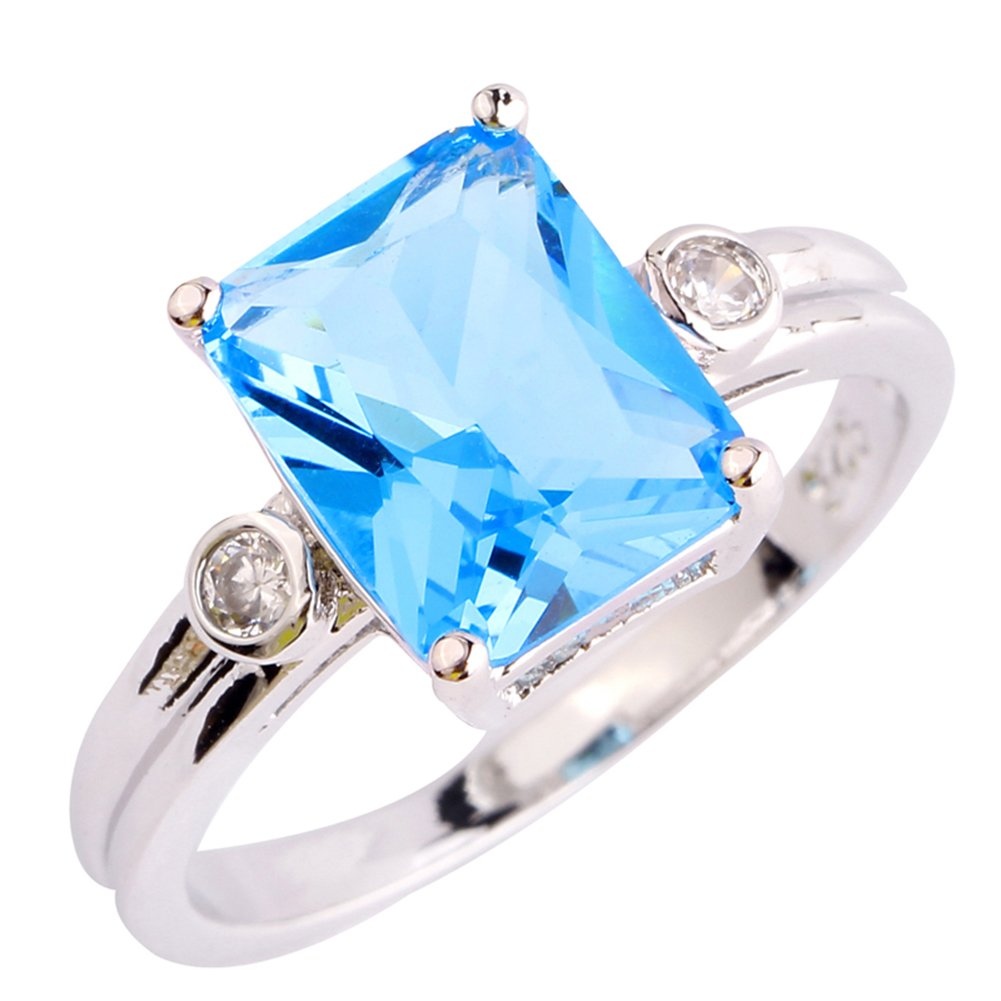 Psiroy Women's 925 Sterling Silver Created Blue Topaz Filled Anniversary Ring Size 8