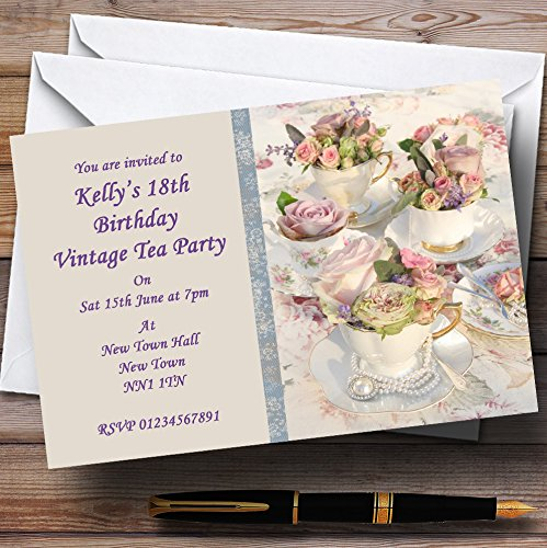 (Floral Teacups Pretty Vintage Tea Personalized Party Invitations)