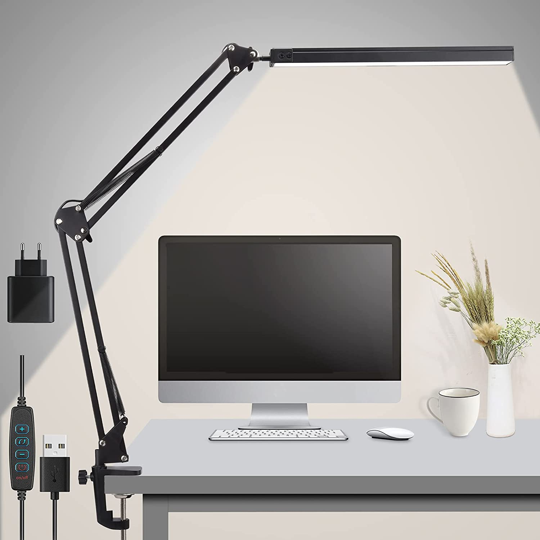 Rigiyoo Lámpara Escritorio LED, 15W Lámpara de Mesa Brazo Oscilante Abrazadera Luz Regulable con 3 Modos de Color + 10 Niveles de Brillo Lámpara de lectura Para Oficina, Lectura, Estudios … (negro)