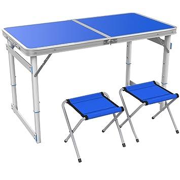 YXX- Mesa y sillas Plegables de Madera al Aire Libre 4 pies ...