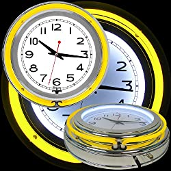 Trademark Gameroom Yellow Chrome Double Ring Neon Clock, 14