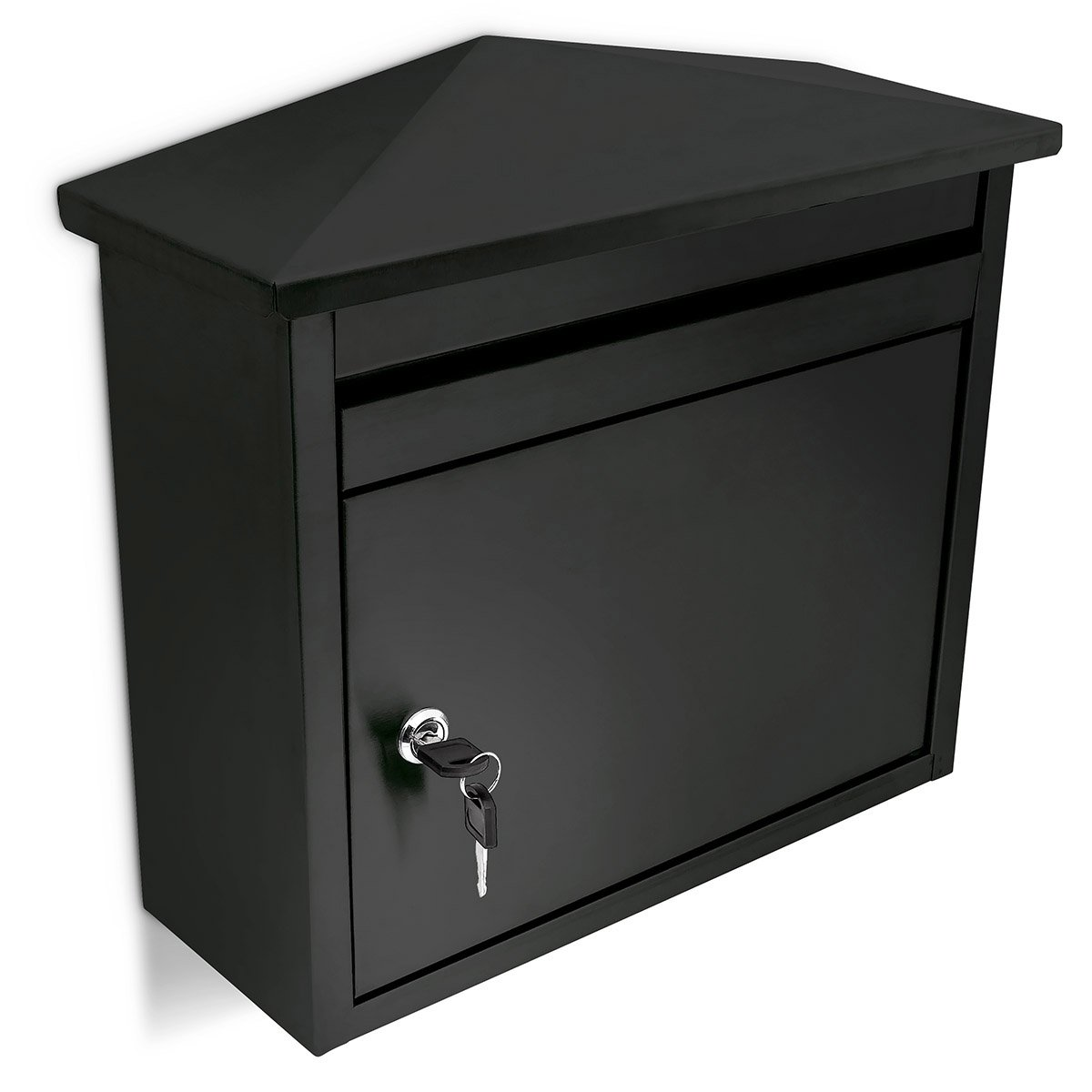 Relaxdays Mailbox 41 x 37 x 16 cm Metal Powder Coated Wall Mounted Mailbox Mail Box Weather-Resistant Iron, Water-Repellent Paint, Black
