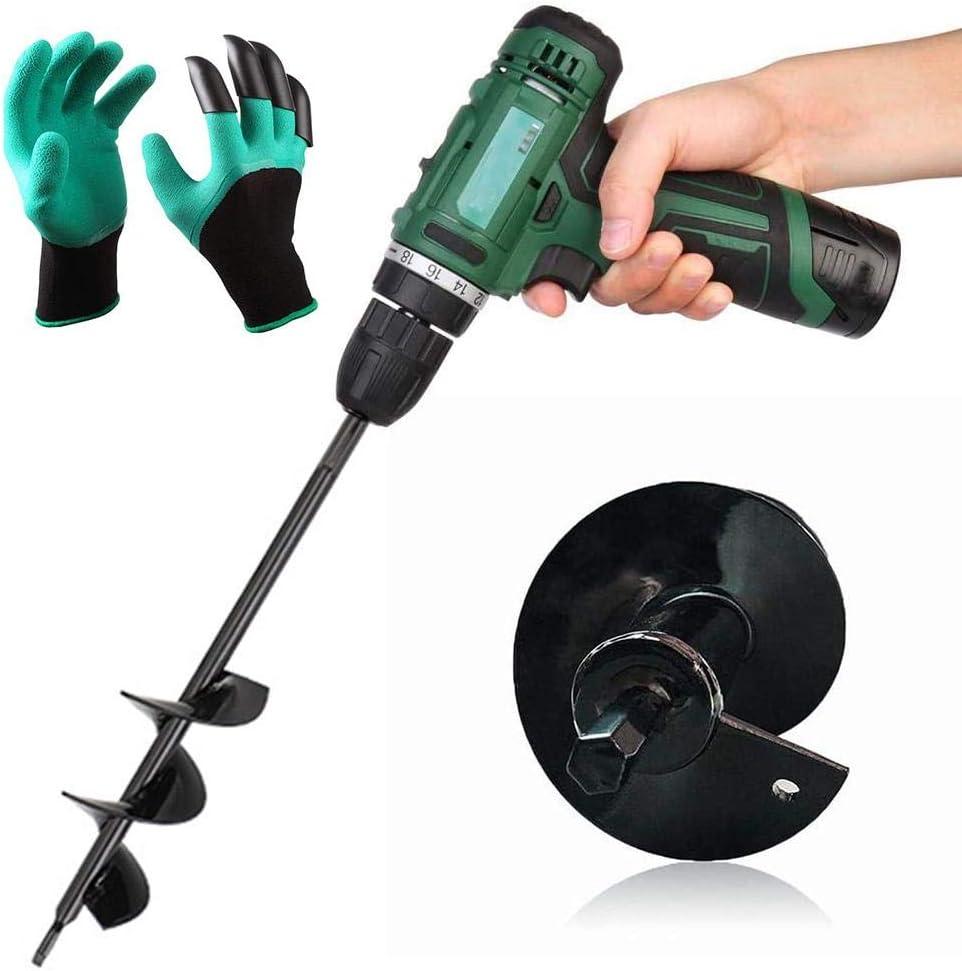 Auger Drill Bit for Planting ,Garden Auger Spiral Drill Bit Spiral Drill Earth Plant Tool with Gloves for Garden Plants,Four Specification Optional