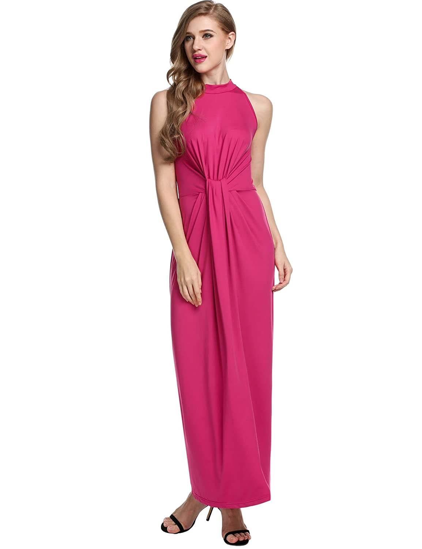 ANGVNS Maxi Dress Women Sleeveless Halter Twist Knot Front Slim Fit Long Dress