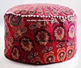 Floor Pillow Cover Large Seating Pouff Covers Bohemian Peacock Mandala Boho Indian Decor Ottoman Pouf Cover Seating Furniture Footstool Sold By ''Handicraft-Palace''