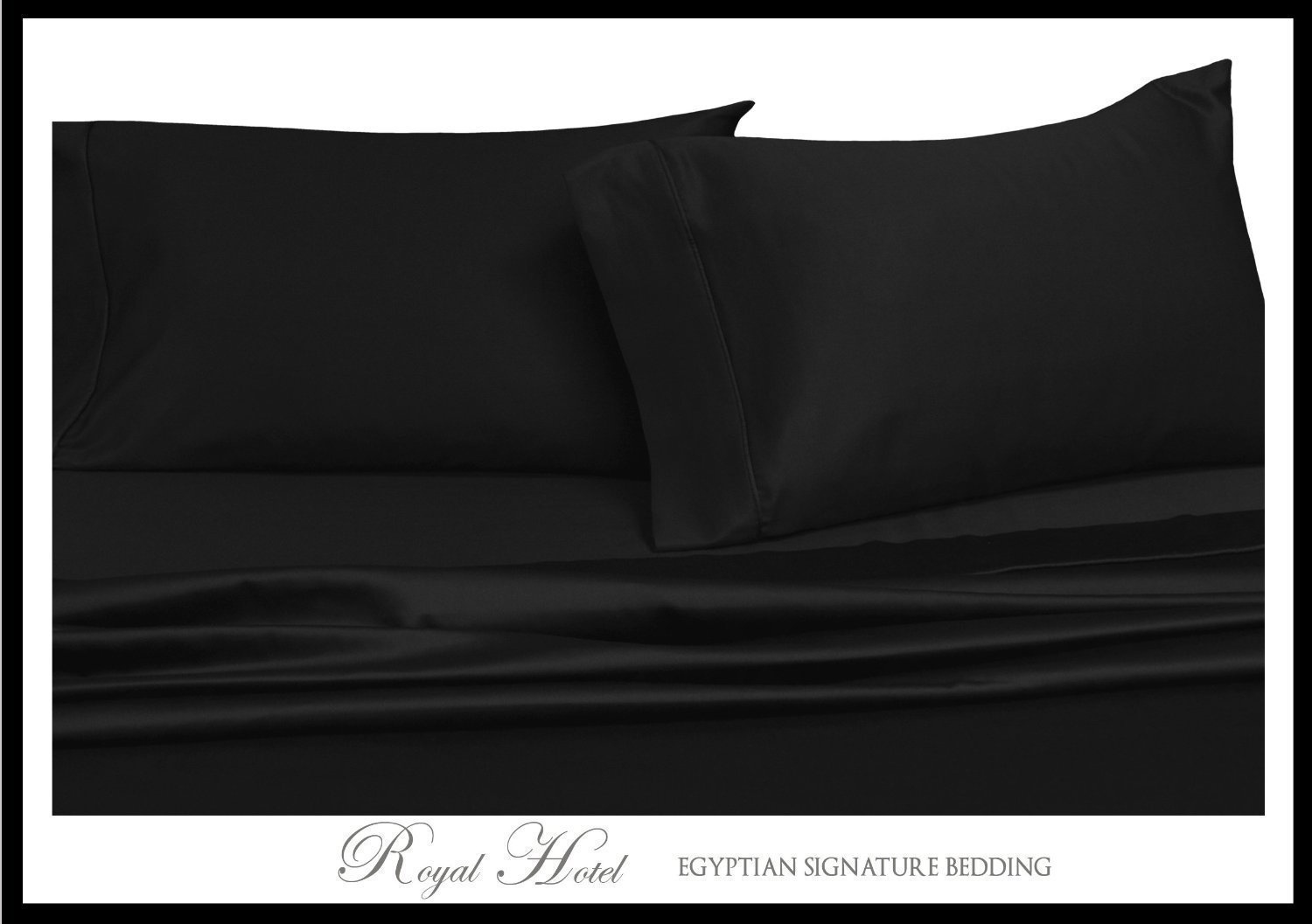 Solid Black California-King Size Sheets, 4PC Bed Sheet Set, 100% Cotton By Royal Hotel
