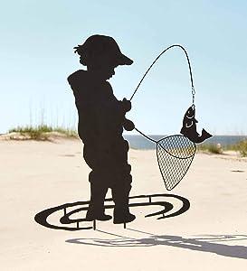 Wind & Weather Boy Fishing Silhouette Metal Garden Stake - 26 L x .5 W x 36 H