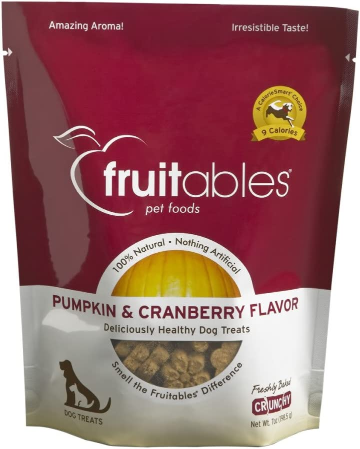 Fruitables Pumpkin Cranberry Crunchy Dog Treats, 7oz Pouch Pack of 6
