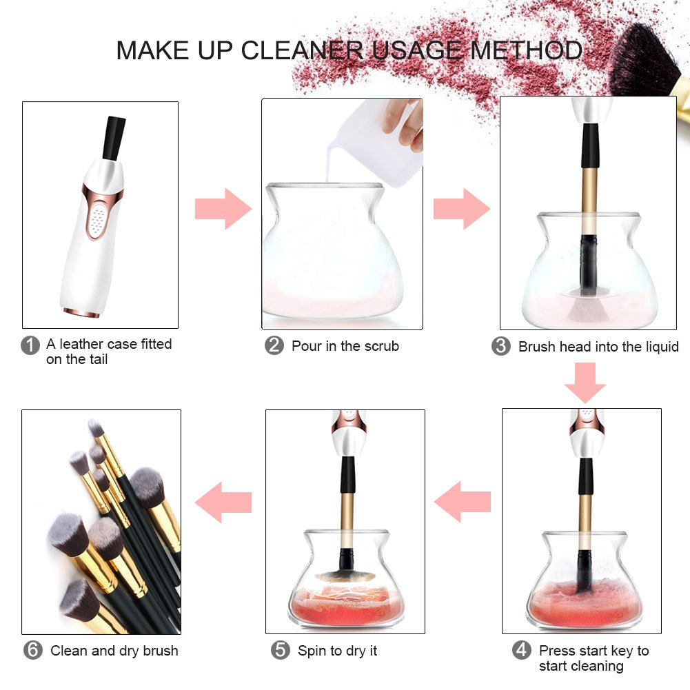 ACTOPP Makeup Brush Cleaner Machine Electric Wash and Dry Brush Spinner Remove Bacteria Oil Dirt in Seconds 360 Rotating Cosmetic Brush Cleaner 8 Rubber Holders Suit for All Sizes Makeup Brushes