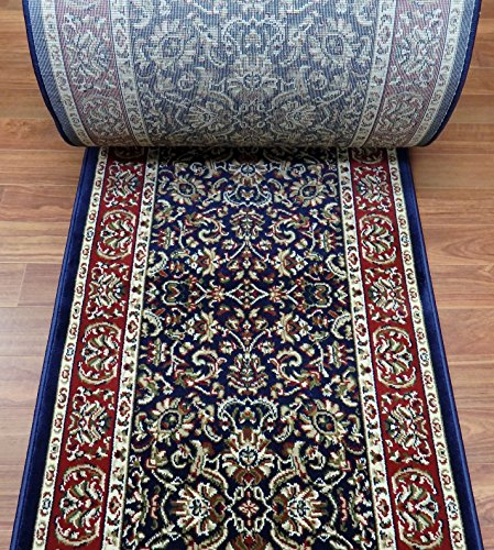 Roll Custom Runner Ivory (148672A - Rug Depot Radici Noble 1305 Navy Traditional Hall and Stair Runner - 26