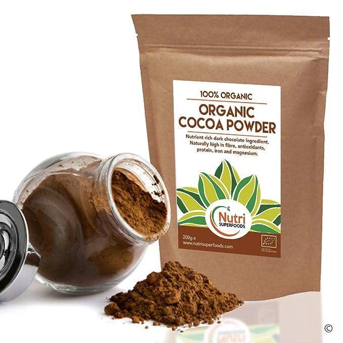 Polvo de Cacao Orgánico, chocolate negro vegano nutritivo, sin azúcar, ideal para preparar platos, batidos y barras energéticas (200g): Amazon.es: ...