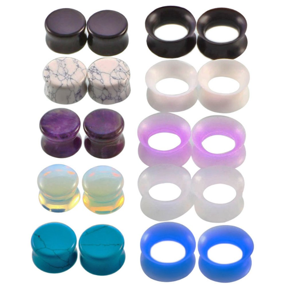 Partyfareast 10 Pairs Stone Silicone Ear Expander Tunnel Ear Stretchers Plugs 2g(6mm) to 5/8(16mm) (Gauge=0g(8mm))