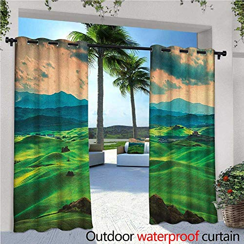Tuscany Balcony Curtains Tuscany Spring Rolling Hills on Sunset Agriculture Farmlands Volterra Italy Outdoor Patio Curtains Waterproof with Grommets W120 x L108 Seafoam Green -