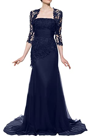 Gorgeous Bride Mermaid Mother of the Bride Evening Dresses Long with Lace Jacket-UK Size