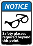 NMC NGA22RB Notice - Safety Glasses Required Beyond This Point. - 10 in. 14 in. Rigid Plastic Notice Signage with Graphic, White Text on Blue/Black Base