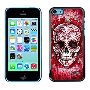 Planetar® ( Red Blood Love Floral Ink Skull Tattoo ) iPhone 5C Fundas Cover Cubre Hard Case Cover