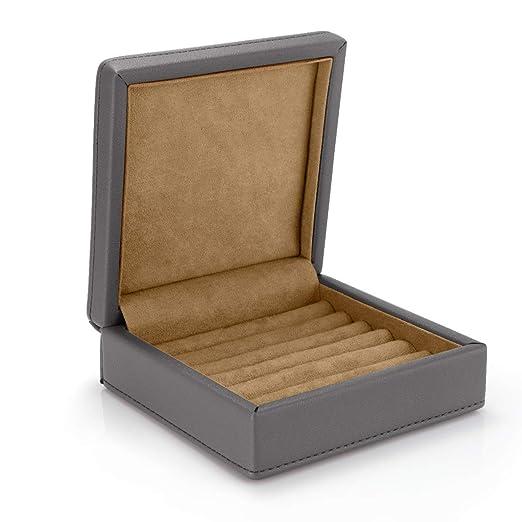 LELADY Caja Joyero Pequeña para Mujer, Joyero Viaje Cajas para Anillos, Aretes, Pendientes, Pulseras y Collares, Gris: Amazon.es: Hogar