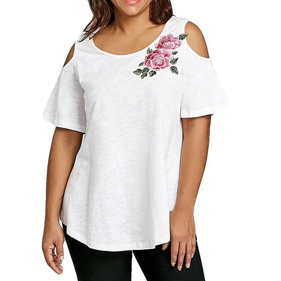 Lenfesh Camiseta de Mujer Manga Corta Bordado de Flores Camisetas Talla Grande Algodón Suelta 5XL Mujer