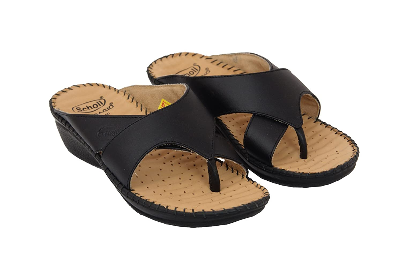 e2d8c22d4c6d2 Dr. Scholl's Women's Black Leather Slippers (8): Buy Online at Low ...