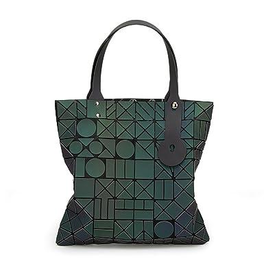2018 Chicas Moda Fragmento Enrejado Diseño Geométrico Bolsa Cuero De PU único Carteras Helado Bolsos Bolsa De Noche (Luminoso),Luminous-OneSize: Amazon.es: ...