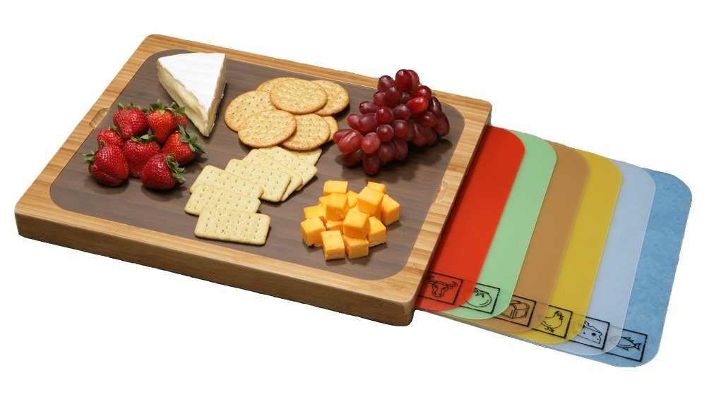 Seville Classics Easy-to-Clean Bamboo Cutting Board and 7 Color-Coded Flexible Cutting Mats with Food Icons Set by Seville Classics